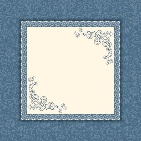 Blue and beige vintage background with seamless pattern Illusztráció
