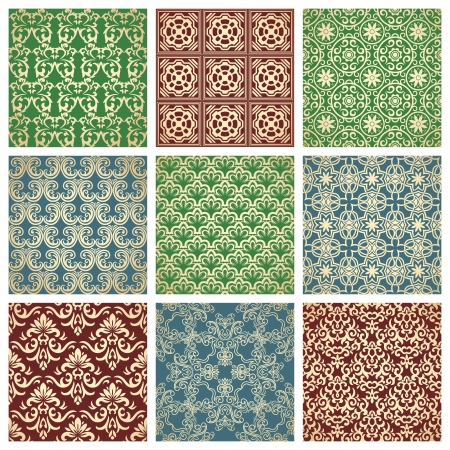 Set of nine seamless patterns Stock Vector - 21577584
