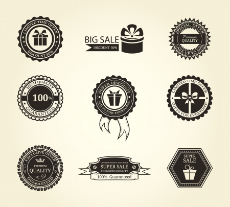 Set of vintage frames and labels Vector