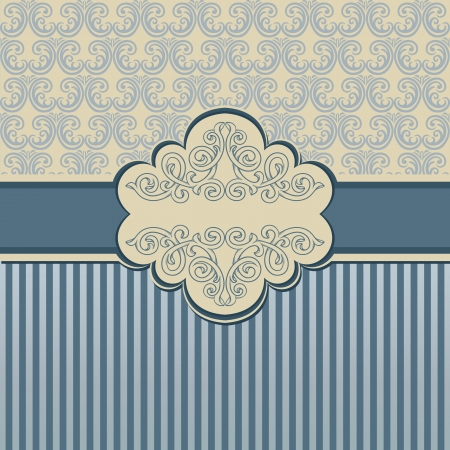 Vintage background with damask pattern and frame Vector