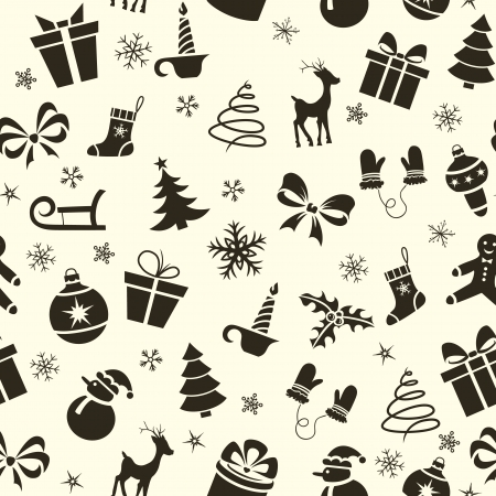 Vintage Christmas seamless pattern with deer, snowman, tree, sled, candle, etc Stock Vector - 21577588