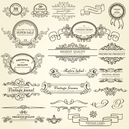 Set of vintage design elements Illustration