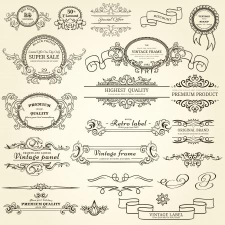 filigree: Set of vintage design elements Illustration