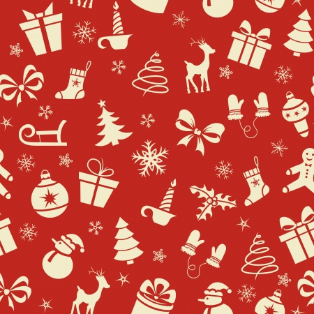 Christmas seamless pattern on red background Stock Vector - 21800314
