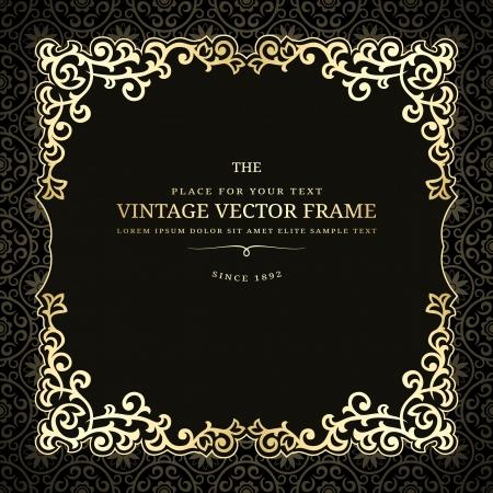 Vintage golden frame on dark background
