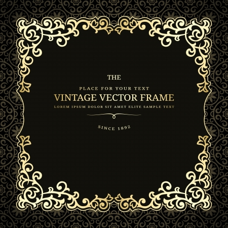 Vintage golden frame on dark background Vector
