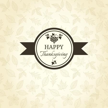 Thanksgiving greeting card on autumn pattern Illustration