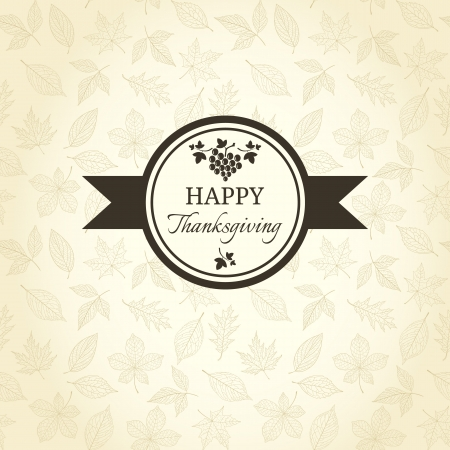 Thanksgiving greeting card on autumn pattern Vector