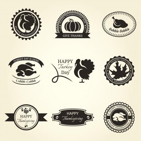 thanksgiving day symbol: Set di nove telaio e le etichette di ringraziamento