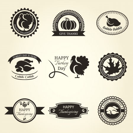 Set of nine thanksgiving frame and labels Ilustração