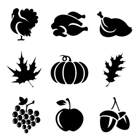 dynia: Zestaw Thanksgivin ikony samodzielnie na białym tle