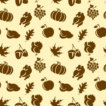 Thanksgiving seamless pattern with turkey, leaves, pumpkin, etc Stock Vector - 21800330