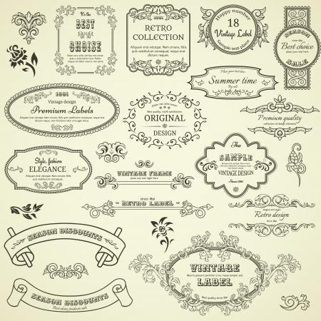 Set of vintage design elements Illustration