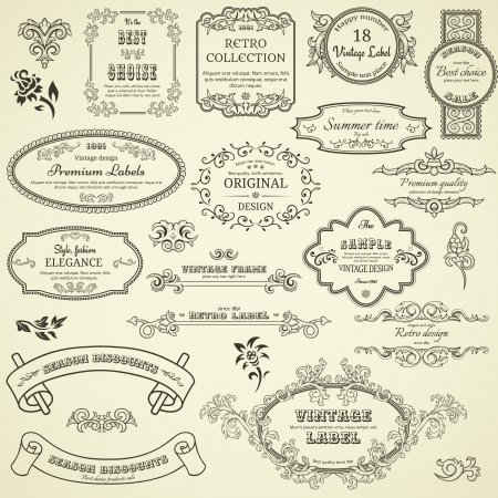 Set of vintage design elements Stock Illustratie