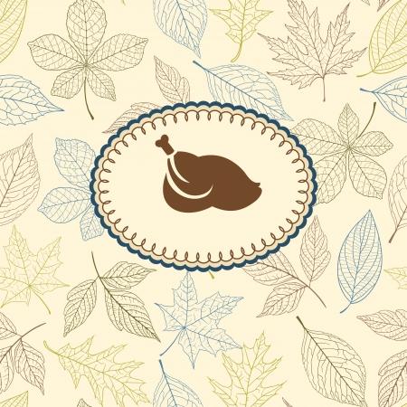 thanksgiving greeting: Thanksgiving greeting card on autumn pattern Illustration