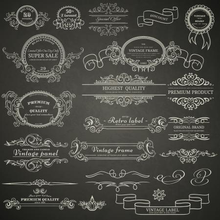 Set of vintage design elements on blackboard 일러스트