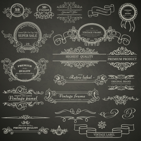 Set of vintage design elements on blackboard Stock Illustratie