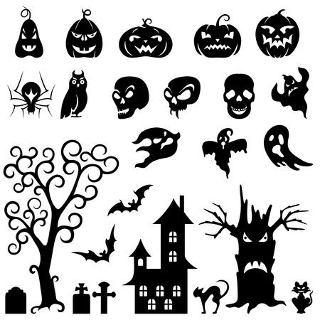 zucche halloween: Set di silhouette di Halloween su sfondo bianco
