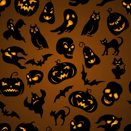 Halloween seamless pattern with pumpkin, cat, bat, ghost, skull, etc Vector