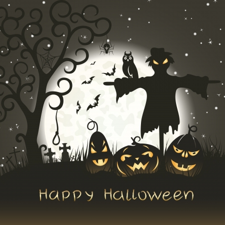 churchyard: Halloween greeting card with scarecrow
