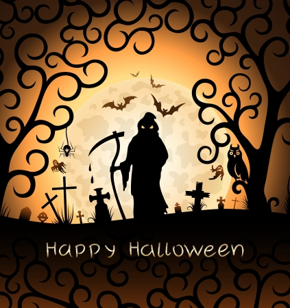 spooky tree: Halloween greeting card with Death
