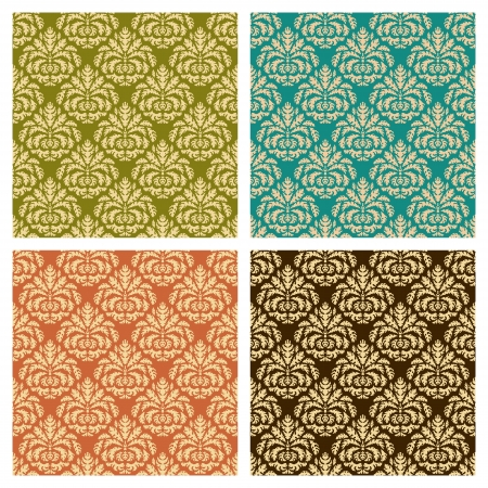 Set of four seamless pattern in retro style