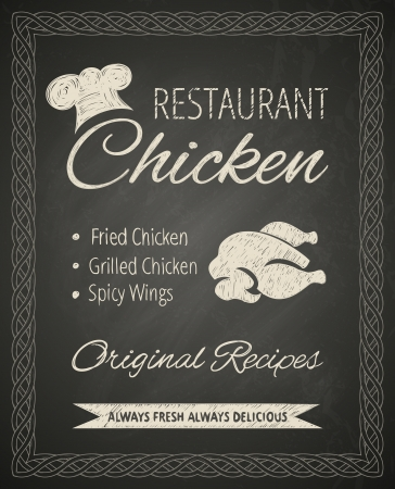 fried chicken wings: Restaurantposter on blackboard  Stylized drawing in chalk