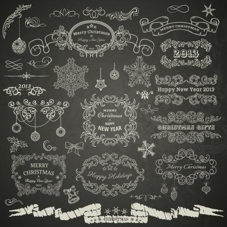 Christmas design elements on chalkboard 일러스트