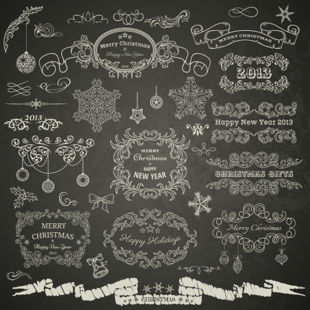 Christmas design elements on chalkboard Stock Illustratie