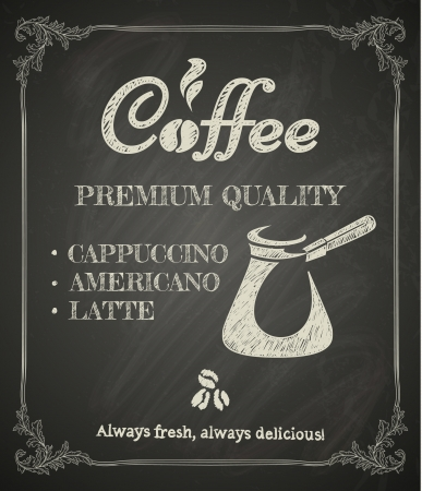 coffee: Coffee poster on blackboard  Stylized drawing in chalk Illustration