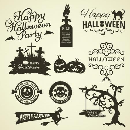 zucche halloween: Set di elementi di design di Halloween