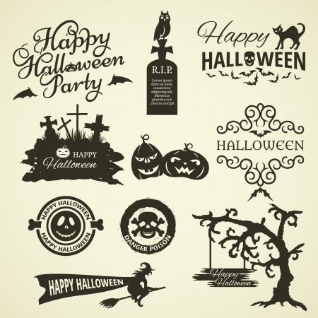 witch face: Set of Halloween Design Elements