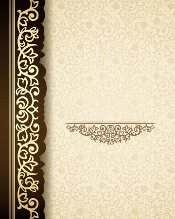 Vintage background with golden border and retro pattern Illustration