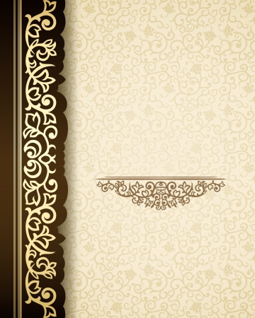 decorative border: Vintage background with golden border and retro pattern Illustration
