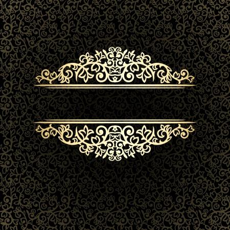 Vintage golden frame on dark ornate background