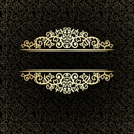 baroque background: Vintage golden frame on dark ornate background