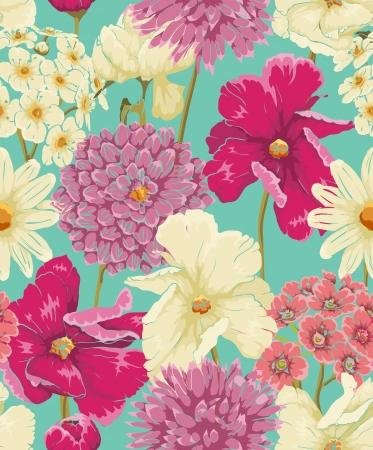 水彩風の花で花のシームレスなパターン  イラスト・ベクター素材