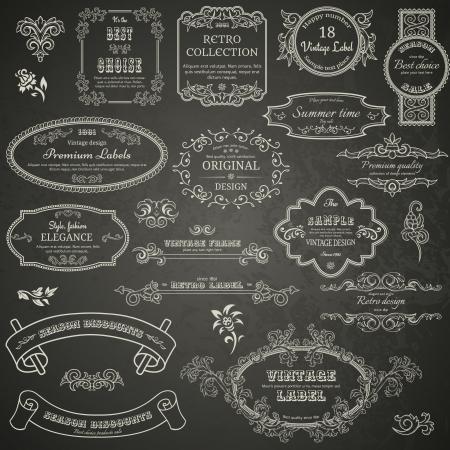 Set of vintage design elements on blackboard Vettoriali
