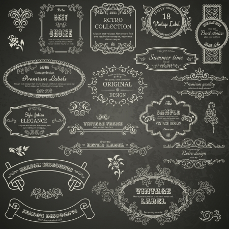 Set of vintage design elements on blackboard Ilustrace