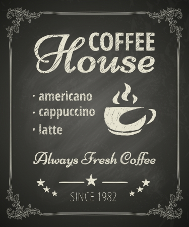 coffee: Coffee poster on blackboard. Stylized drawing in chalk