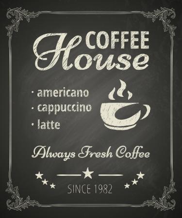 Coffee poster on blackboard. Stylized drawing in chalk