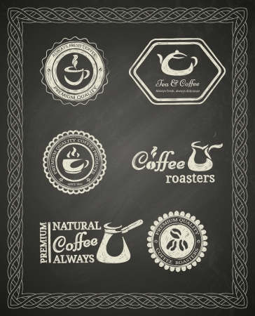 Set of chalkboard coffee labels Vector