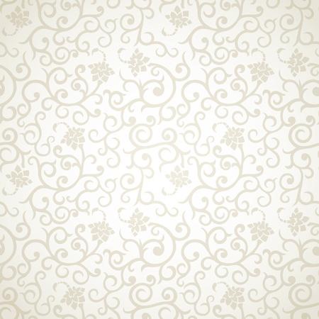 Floral vintage seamless pattern on light background  イラスト・ベクター素材