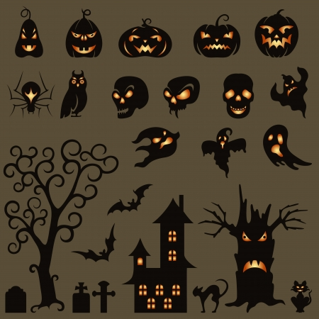Set of halloween silhouette on gray background Vector