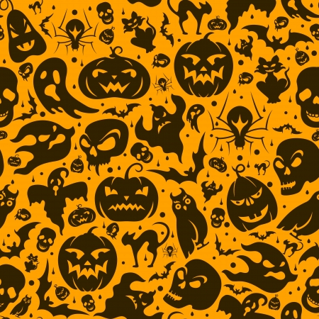Halloween seamless pattern with pumpkin, cat, bat, ghost, skull, etc Vector