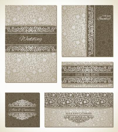 royal wedding: Set of wedding cards in vintage style