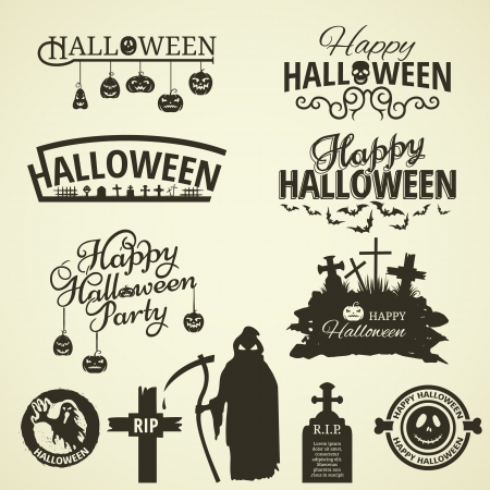 Halloween label and tags in retro style Vector