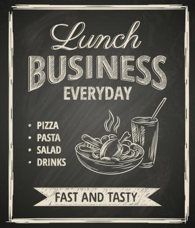 칠판에 비즈니스 점심 포스터 일러스트