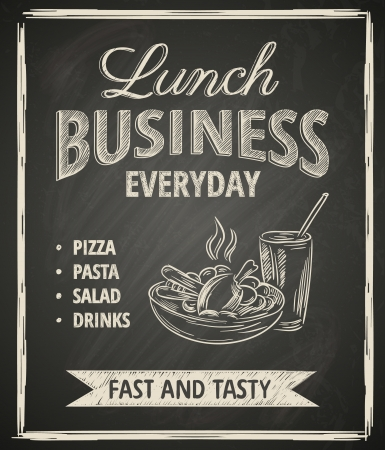 ribbon pasta: Business lunch poster on blackboard Illustration
