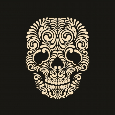 Beige ornate skull on black background Vector